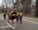 Canadian runner Robin Watson leads the 2013 Boston Marathon at Mile 14